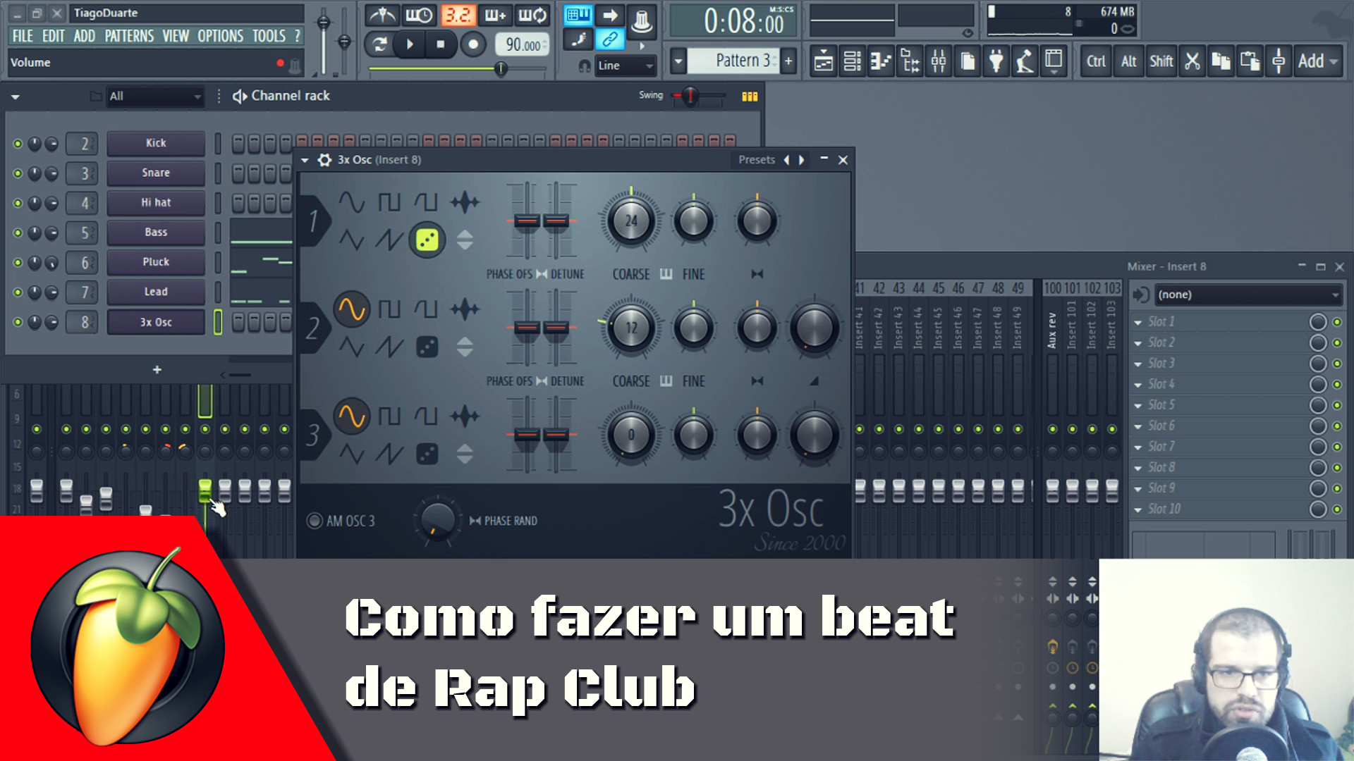 Beat de Rap Club usando apenas 3xOsc